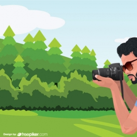 photographer And Natural landscape Vector