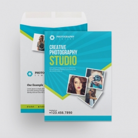 Photography Catalog Envelope With Blue Accent