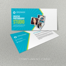 Photography Compliment Card With Blue Accent