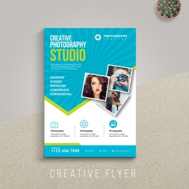 Photography Creative Flyer With Blue Accent