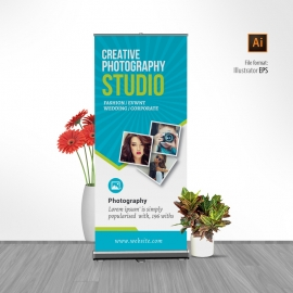Photography Rollup Banner With Blue Accent