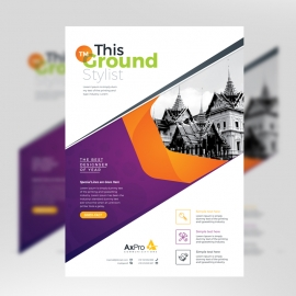 Purple And Orange Accent Business Flyer