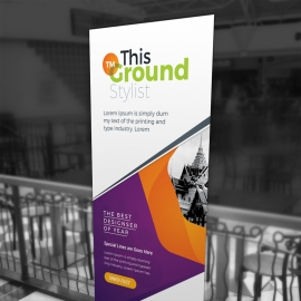 Purple And Orange Accent Business Rollup Banner
