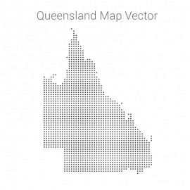 Queensland Map By Dots Vector Design