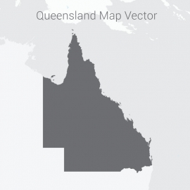 Queensland Map Dark Vector Design