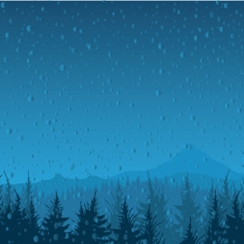 Rain Illustration At Night Moment