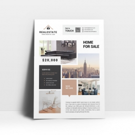 Real Estate Home Flyer With Boxes Design