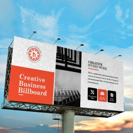 Red Accent Business Billboard Banner With Boxs