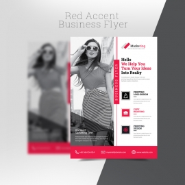 Red Accent Business Flyer