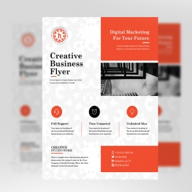 Red Accent Business Flyer With Boxs