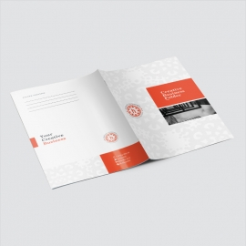 Red Accent Business Presentation Folder With Boxs