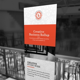 Red Accent Business Rollup Banner With Boxs
