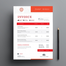 Red Accent Creative Business Invoice