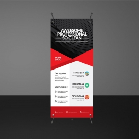 Red Accent Rollup Banner Template