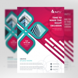 Red Color Business Flyer With Elements