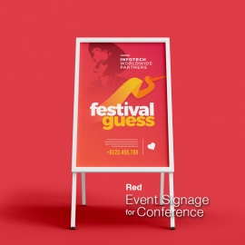 Red Event Signage For Conference