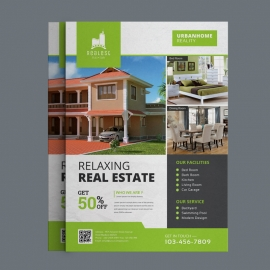 Relaxing Real Estate Flyer with Green Concept