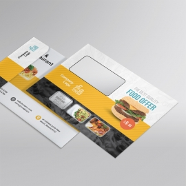 Restaurant B5 Envelope With Yellow Black Accent