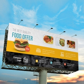 Restaurant Billboard Banner With Yellow Black Accent