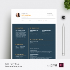 Resume & Cover Letter Layout with Gold Nevy Blue Accent