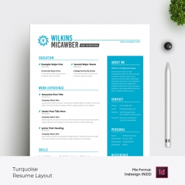 Resume & Cover Letter Layout with Turquoise Accent
