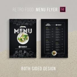 Retro Style Black Food Menu Flyer & Poster Design