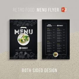 Retro Style Black Food Menu Flyer & Poster Design