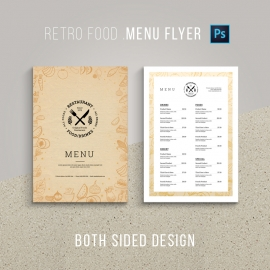 Retro Style Golden Food Menu Flyer & Poster Design