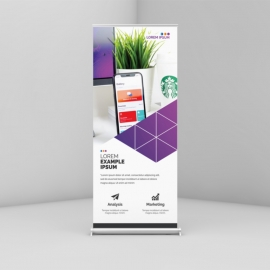 Rollup Banner Layout with Purple & Black