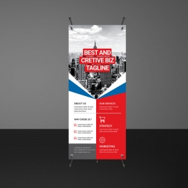 Rollup Banner With Abstract Shapes