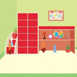Room With Decorative Objects In Flat Design
