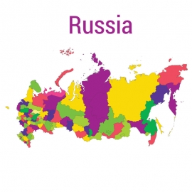 Russia Map Colorful Vector Design