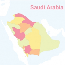 Saudi Arabia Map Colorful Vector Design