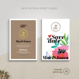 Save the Date Invitation Postcard with WaterColor Colorful Floral
