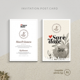 Save the Date Invitation Postcard with Floral WaterColor