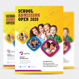 School Admission Flyer With Yellow Accent
