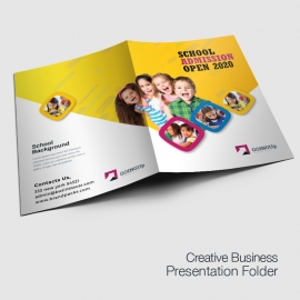 School Admission Presentation Folder With Yellow Accent