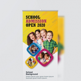 School Admission Rollup Banner With Yellow Accent