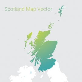 Scotland Map By Gradient Color Vector Design