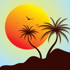 Silhouette Coconut Tree with Sun