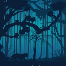 Silhouette Forest Vector Design