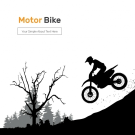 Silhouette of Motocross Rider Jump