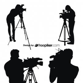 Silhouettes Vector Of Photographer