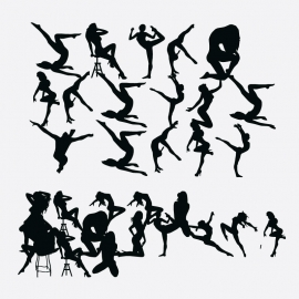 Silhouettes Woman's Exercise Vector