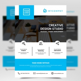 Simple Business Cyan Flyer Template