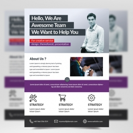 Simple Business Flyer with Red & Purple Accent