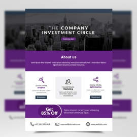 Simple Corporate Flyer with Purple Accent