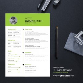 Simple Resume Design With Green Concepts