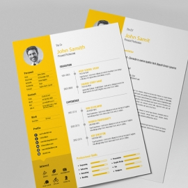 Simple Resume Design With Orange Concepts