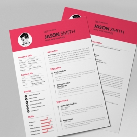 Simple Resume Design With Red Concepts